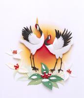 赤い実のセンリョウと丹頂鶴2羽の花鳥風月レリーフ