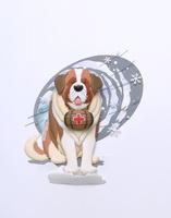 酒樽を首に雪中救助犬セントバーナード