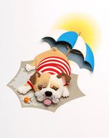 ビーチパラソルの下で夏バテの愛玩犬ブルドッグ