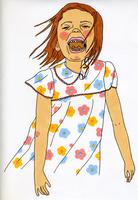 花柄のワンピースを着た女の子 02665000001| 写真素材・ストックフォト・画像・イラスト素材|アマナイメージズ