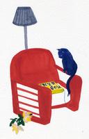 一人掛けソファと猫
