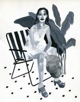イスに座る女性