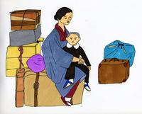 荷物に腰掛けた親子