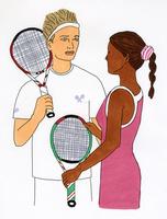 テニスラケットを持つ男性と女性