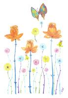 蝶とオレンジ色のバラ