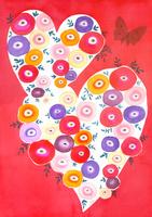 赤いハートにアネモネと蝶々