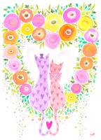 花のハートと2匹のネコ
