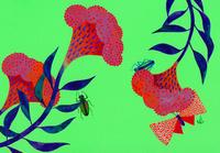 花と虫 鶏頭