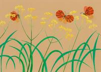 花と虫 秋の花と蝶