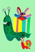 プレゼントを運ぶカタツムリ