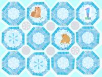 雪と犬の和文様タイル風 02671000108| 写真素材・ストックフォト・画像・イラスト素材|アマナイメージズ