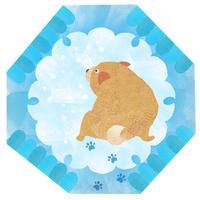 犬と雪、雪を眺める子犬、和の文様 02671000111| 写真素材・ストックフォト・画像・イラスト素材|アマナイメージズ