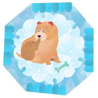 犬と雪、おもちゃと子犬、和の文様 02671000112| 写真素材・ストックフォト・画像・イラスト素材|アマナイメージズ