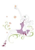 蝶とたわむれる女性