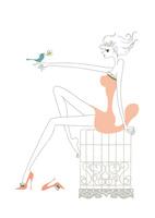 鳥とたわむれる女性