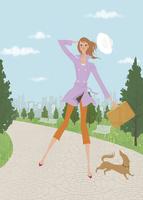 春の公園でミニチュアダックスと散歩をする女性