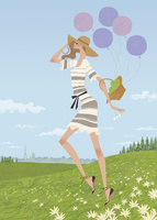 花畑の丘で風船を持ちながら駆ける女性