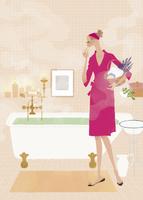 バスルームでこれからお風呂に入る女性