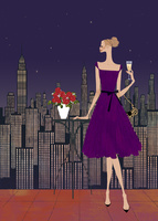 都心のホテルでパーティを楽しむ女性 02674000016| 写真素材・ストックフォト・画像・イラスト素材|アマナイメージズ