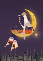三日月に座り、ワインを楽しむ女性