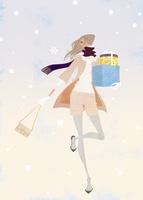 雪の中プレゼントを持って走る女性