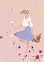 花々が舞う中、花冠をつけて浮遊する女性