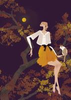 秋の夜に木の幹に座りながら満月を楽しむ女性