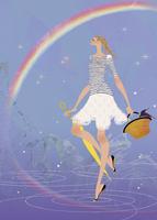 雨の後の虹を散歩をしながら楽しむ女性