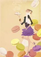 マカロンの舞う中、ティーセットを持つ女性 02674000046| 写真素材・ストックフォト・画像・イラスト素材|アマナイメージズ