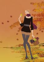紅葉の中、果物を入れたかごバッグを持つ女性。
