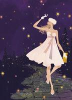 クリスマスパーティに向かうドレス姿の女性