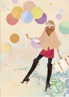 風船を持ちながら浮遊する女性