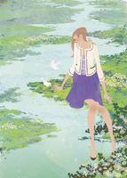 春の水辺で小鳥と遊ぶ女性