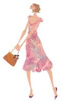 花柄のワンピースを着て嬉しそうに立つ女性