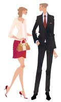 OL風の女性とサラリーマン風の男性とのカップル