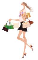 沢山のバッグを持ち嬉しそうに歩く女性