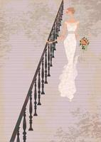屋外の階段を降りるウェディングドレス姿の女性