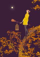 秋の満月の夜に樹の上で鳥かごとホウキを持つ女性