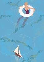 綺麗な池に入り浮き輪で水遊びをする女性