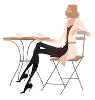 カフェでお茶をする女性