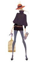 鳥かごをとクラッチバッグを持ち立つポーズを取る女性