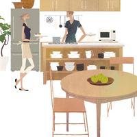 キッチンに立つ女性と男性