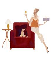 シャンパンとプレゼントを手にソファの手すりに座り、犬と一緒にくつろぐ女性