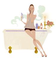 バスタブに座り香りを楽しむ女性