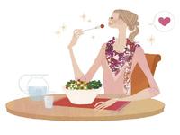 山盛りのサラダを美味しそうに食べる女性 02674000080| 写真素材・ストックフォト・画像・イラスト素材|アマナイメージズ