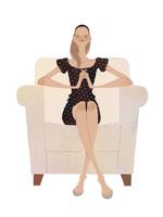 ソファで目を閉じリラックスする女性 02674000084| 写真素材・ストックフォト・画像・イラスト素材|アマナイメージズ