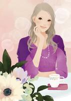 花のあるテーブルと女性 02675000001| 写真素材・ストックフォト・画像・イラスト素材|アマナイメージズ