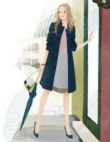 ドアの前に立つ傘を持った女性 02675000002| 写真素材・ストックフォト・画像・イラスト素材|アマナイメージズ