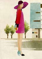 道に立つ帽子をかぶった女性 02675000004| 写真素材・ストックフォト・画像・イラスト素材|アマナイメージズ
