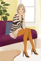 部屋のソファに座った女性 02675000005| 写真素材・ストックフォト・画像・イラスト素材|アマナイメージズ
